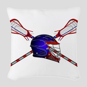 Lacrosse Helmet with sticks Woven Throw Pillow