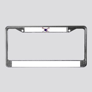 Lacrosse Helmet with sticks License Plate Frame
