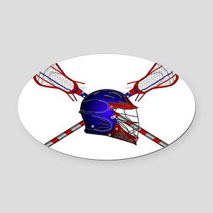 Lacrosse Helmet with sticks Oval Car Magnet