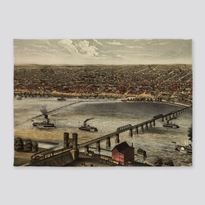Vintage Pictorial Map of Louisville 5'x7'Area Rug