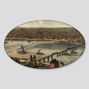 Vintage Pictorial Map of Louisville Sticker (Oval)