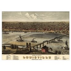 Vintage Pictorial Map of Louisville (1876) Poster