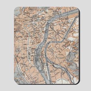 Vintage Map of Liège Belgium (1905) Mousepad