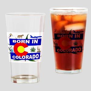 COLORADO BORN Drinking Glass