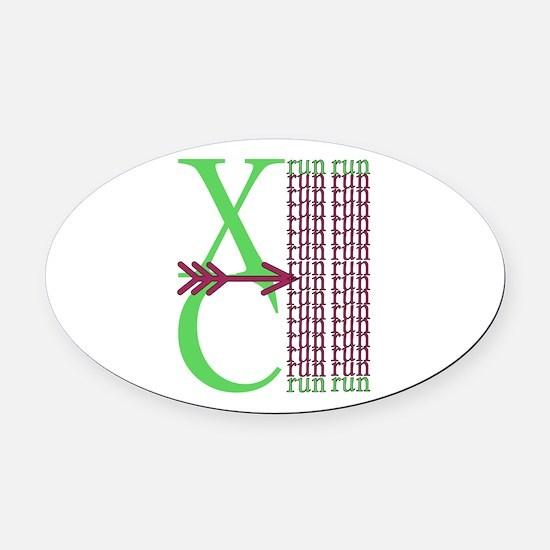 XC Run Green Purple Oval Car Magnet