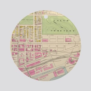 Vintage Map of Manchester NH (1892) Round Ornament