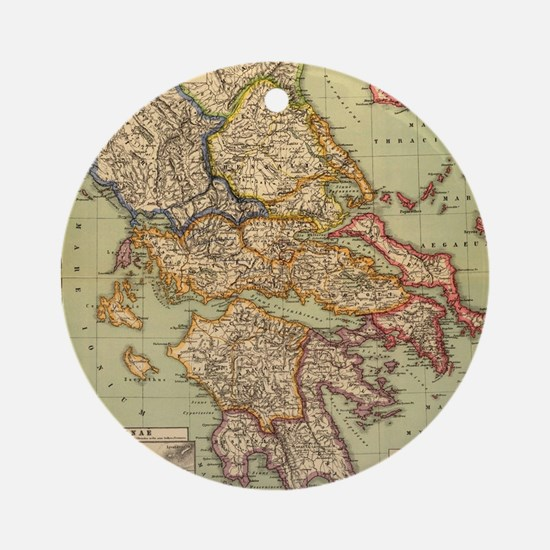 Vintage Map of Greece (1903) Round Ornament