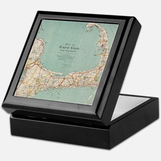 Vintage Map of Cape Cod (1917) Keepsake Box