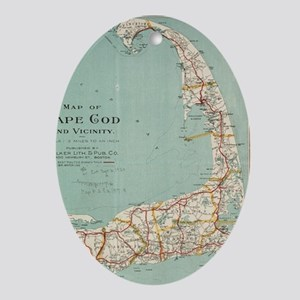 Vintage Map of Cape Cod (1917) Oval Ornament