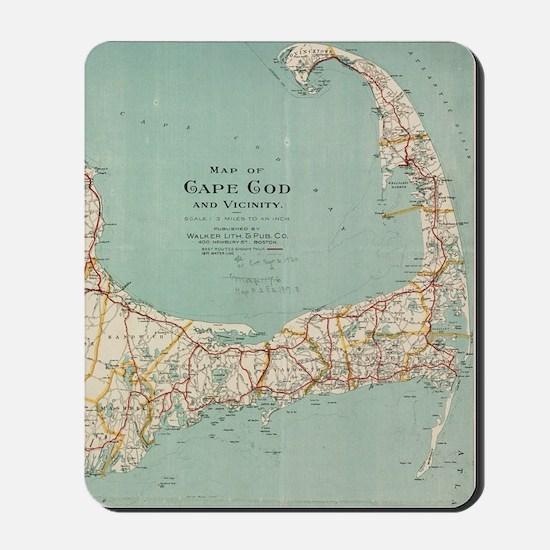 Vintage Map of Cape Cod (1917) Mousepad