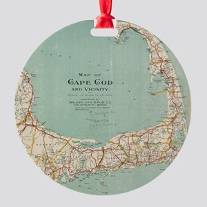 Vintage Map of Cape Cod (1917) Round Ornament