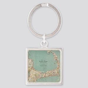 Vintage Map of Cape Cod (1917) Square Keychain