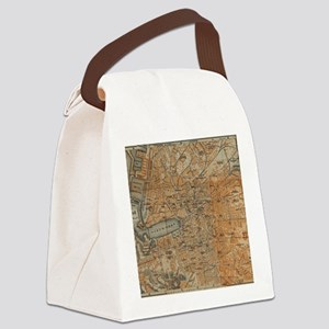 Vintage Map of Marseille France ( Canvas Lunch Bag