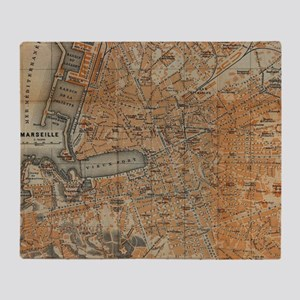 Vintage Map of Marseille France (191 Throw Blanket