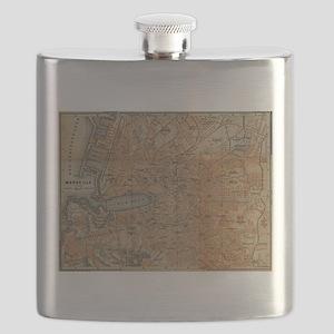 Vintage Map of Marseille France (1914) Flask