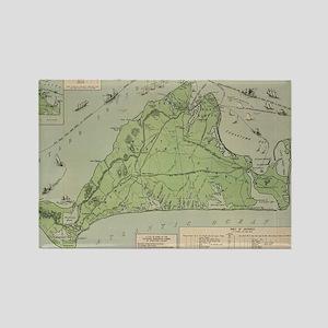 Vintage Map of Marthas Vineyard ( Rectangle Magnet