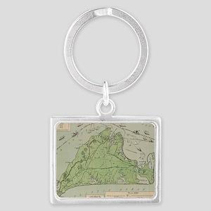 Vintage Map of Marthas Vineyard Landscape Keychain