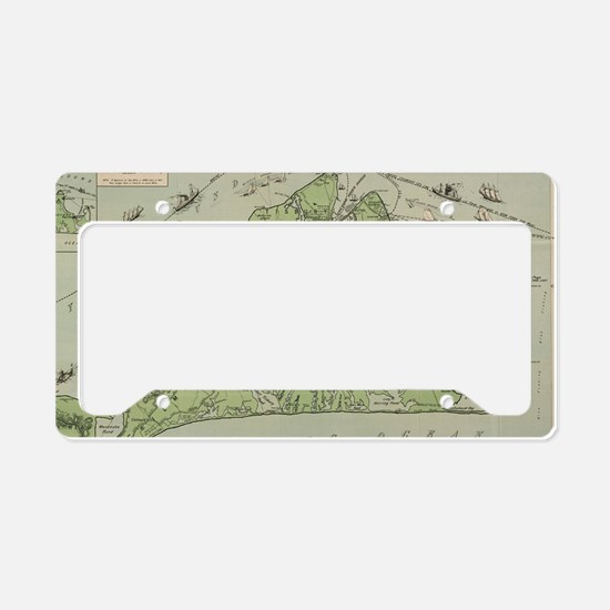 Vintage Map of Marthas Vineya License Plate Holder