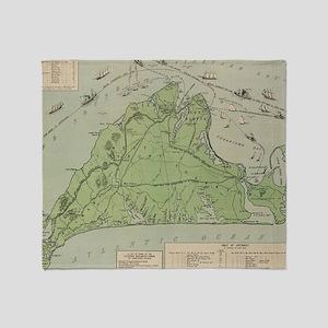 Vintage Map of Marthas Vineyard (191 Throw Blanket