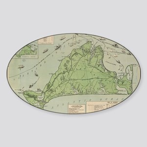 Vintage Map of Marthas Vineyard (19 Sticker (Oval)