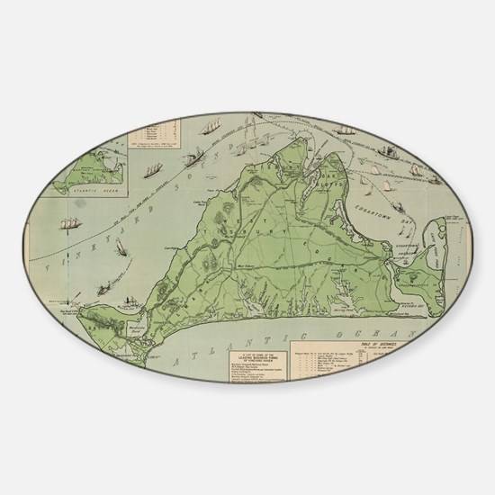 Vintage Map of Marthas Vineyard (19 Sticker (Oval)