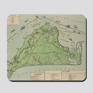 Vintage Map of Marthas Vineyard (1913) Mousepad