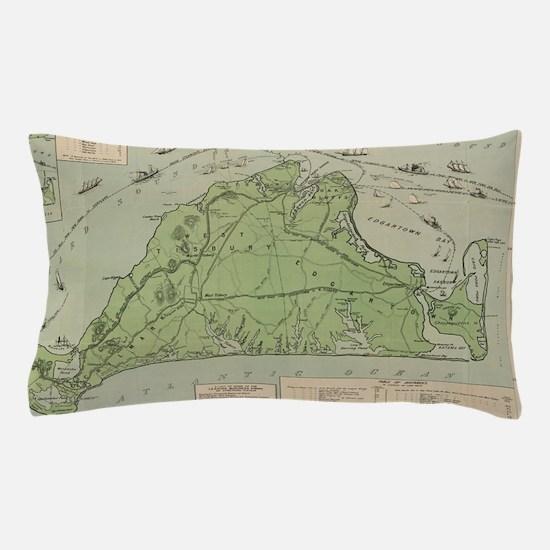 Vintage Map of Marthas Vineyard (1913) Pillow Case