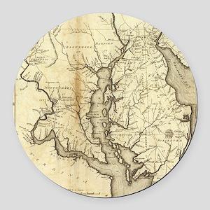 Vintage Map of Maryland (1796) Round Car Magnet