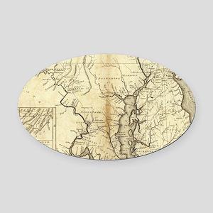 Vintage Map of Maryland (1796) Oval Car Magnet