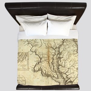 Vintage Map of Maryland (1796) King Duvet