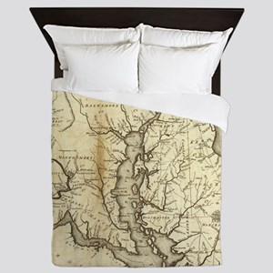 Vintage Map of Maryland (1796) Queen Duvet