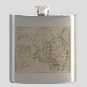 Vintage Map of Maryland (1796) Flask