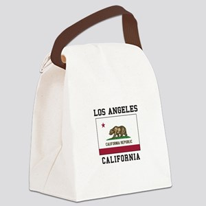 Los Angeles California Flag Canvas Lunch Bag