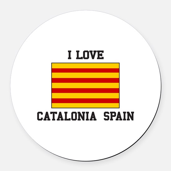 I Love Catalonia Spain Round Car Magnet