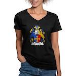 Wolcott Family Crest Women's V-Neck Dark T-Shirt