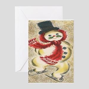Vintage Snowman Greeting Card