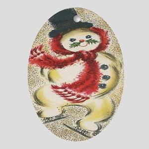 Vintage Snowman Oval Ornament