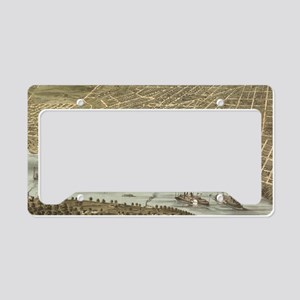 Vintage Pictorial Map of Memp License Plate Holder