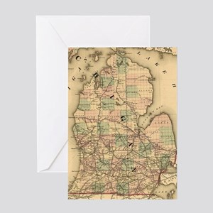 Vintage Map of The Michigan Railroad Greeting Card