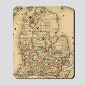 Vintage Map of The Michigan Railroads (1 Mousepad