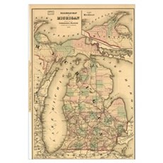 Vintage Map of The Michigan Railroads (1876) Canvas Art