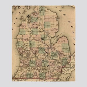 Vintage Map of The Michigan Railroad Throw Blanket