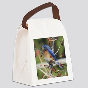 Red Bud Bluebird Canvas Lunch Bag
