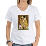 The Kiss / Pug Women's V-Neck T-Shirt