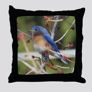 Red Bud Bluebird Throw Pillow