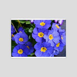 pretty blue garden flowers. floral 5'x7'Area Rug