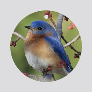 Red Bud Bluebird Ornament (Round)