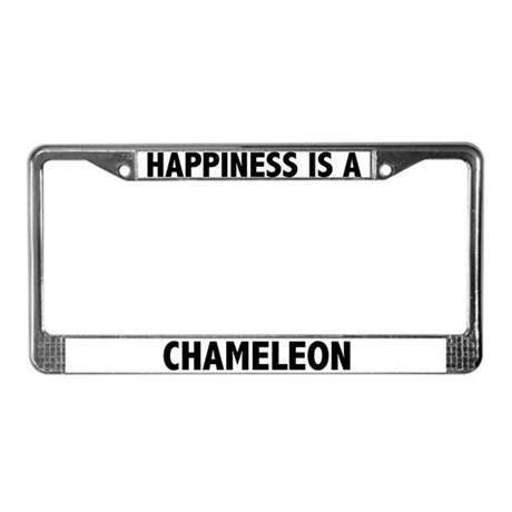 Happiness Is A Chameleon License Plate Frame