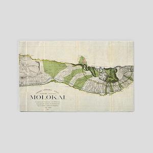 Vintage Map of Molokai Hawaii (1906) Area Rug