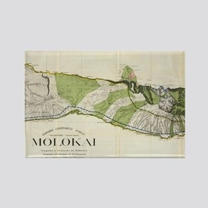 Vintage Map of Molokai Hawaii (19 Rectangle Magnet